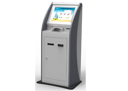 Floor Standing Touch Screen Self Service Kiosk with Card Reader For Banks