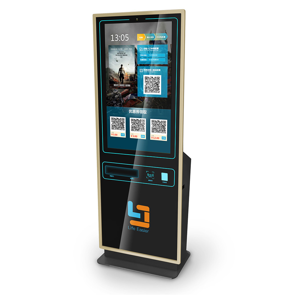 Floor Standing Bill Payment Tickets Advertising Screen ATM Hospital Kiosks With TFT LCD Display